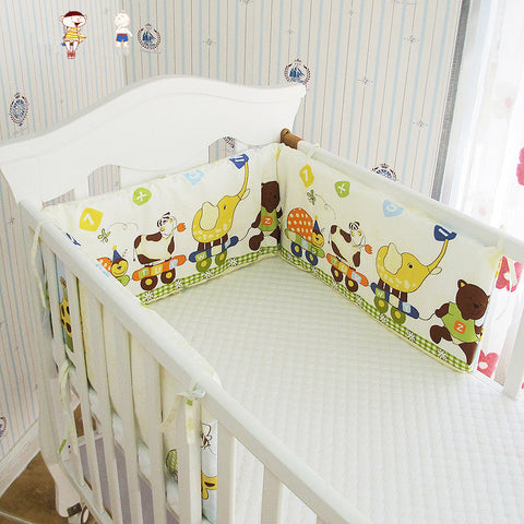 Collapsible 180*28cm Baby Crib Bumper In the Crib, Newborn Cotton Linen Cot Bumper Baby Bed Protector, Kids Baby Bedding Bumper - thefashionique