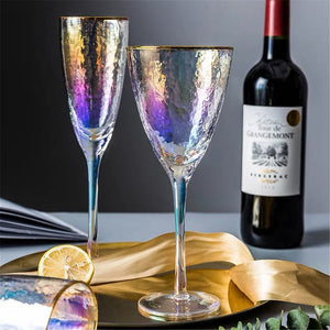 Colorful Wine Glass Champagne Flutes Crystal Wedding Glasses Luxury Gold Rim Party Gift Home Drink Cup Goblet 280ml 370ml - thefashionique