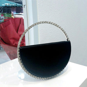 Colour Diamond Circular Evening Bag Women 2020 New Round Handle Rhinestone Dinner Clutch Purse Ladies Half Moon Handbag Fashion - thefashionique