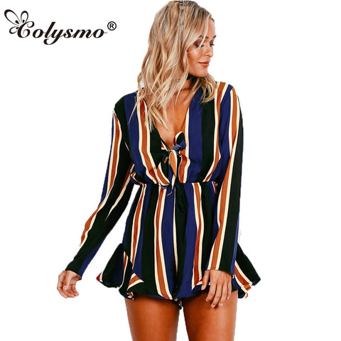 Colysmo New Woman Sexy Loose Fit Deep V Neck Front Knot Ruffled Stripe Romper Playsuit Jumpsuit GJ111