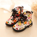 Comfy Kids Shoes Floral Martin Boots for Girls Botas Elegant Flower Print PU Leather Shoes Child Rubber Soled Boots Brand Bottes - thefashionique