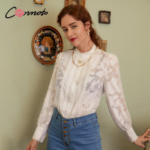 Conmoto Casual crew neck women blouse shirt Long sleeve hollow out flower female tops blouse Office lady Jacquard splice blouse