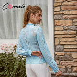 Conmoto Sexy stand collar lace women blouse shirt Long sleeve hollow out ruffle female top blouse High street style ladies shirt