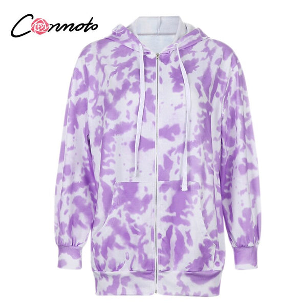 Conmoto Tie dye high fashion hoodies women Floral prined sweatshirts 3 size Casual knitted ladies streetwear jacket autumn 2020