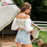 Conmoto short mesh sweet vintage blouse shirt off shoulder sexy embroidery women shirt summer casual twistbeach blusas mujer