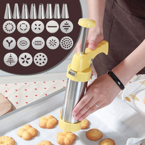 Cookie Press Kit Gun Machine Cookie Making Mold Cake Decor 13 Press Molds & 8 Pastry Piping Nozzles Cookie Tool Biscuit Make - thefashionique