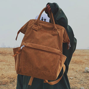 Corduroy Backpacks For Women 2019 Fashion Winter Casual Style Ladies Solid Color Back Pack Female Teens Girls School Backpack - thefashionique