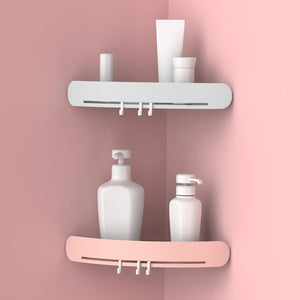 Corner Shower Shelf Bathroom Wall Corner Mount Storage Holder Rack Shelf with Hooks Easy To Install Drop Shipping - thefashionique
