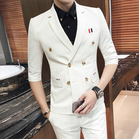 Costume Homme Mariage 2018 Blue Double Breasted Suits White Mens Wedding Suits Purple Suits Short Men Terno Slim Fit Khaki Red