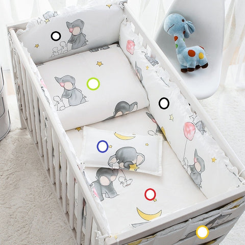 Cotton Cartoon Soft Baby Bedding Sets Gray Elephant  Baby Crib bumper Include Pillow/ Bumpers/ Sheet/Quilt Cover Baby Bumpers - thefashionique