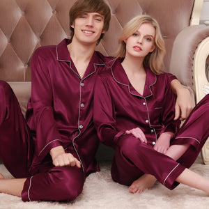 Couple Pajamas Men Women Sexy Satin Silk Pajama Pants Sets Blue Long-Sleeved Pyjama Lounge Sets Lovers Sleepwear - thefashionique