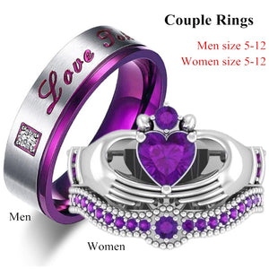 Couple Rings - Men's Stainless Steel Crystal Ring & Women's Heart Natural Purple Crystal Ring Bridal Wedding Engagement Ring Set