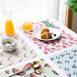 Creative Fruit PVC Placemat Rectangle Dining Table Mat Waterproof Heat Insulation Pads Household Dish Bowl Pad Desktop Decor - thefashionique