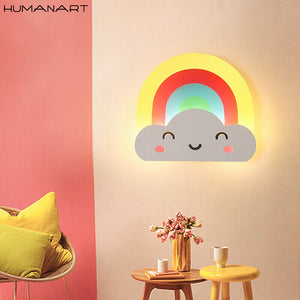 Creative LED Rainbow Wall Lamp  Kids Cartoon Bed Room Light Ultra-thin Acrylic Porch Aisle  Passage Luminaire