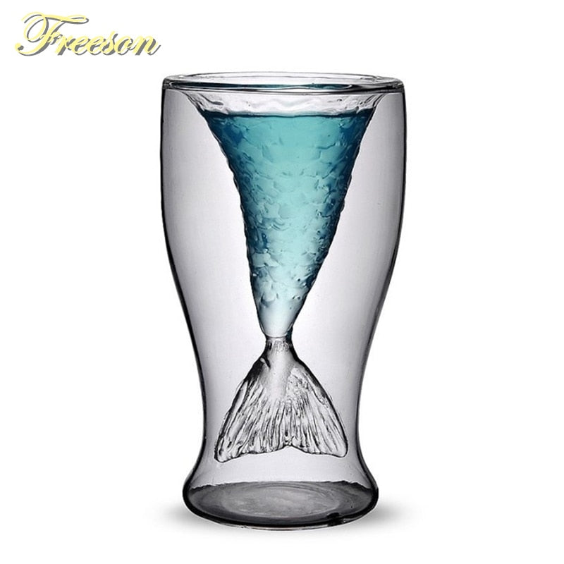 Creative Mermaid Cocktail Glass Cup 100ml Wine Double Wall Glasses Funny Whiskey Vodka Shot Glass Cute Lady Beer Mug - thefashionique