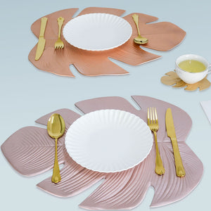 Creative PVC Placemat Simulation Plant Palm Leaf Table Mat Pink Gold Heat Insulation Waterproof Pad Home Christmas Decoration - thefashionique