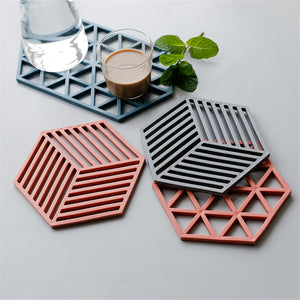 Creative Silicone Coaster Cup Mats Hexagon Coffee Pad Heat-insulated Non Slip Bowl Pad Hot Drink Holder Home Decoration - thefashionique