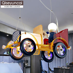 Creative children's room retro classic car lights warm garden boy bedroom cartoon LED car chandeliers