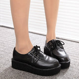 Creepers shoes woman plus size 35-41 women Shoes plus size ladies platform shoes 2018 Women Flats Female shoes laces - thefashionique