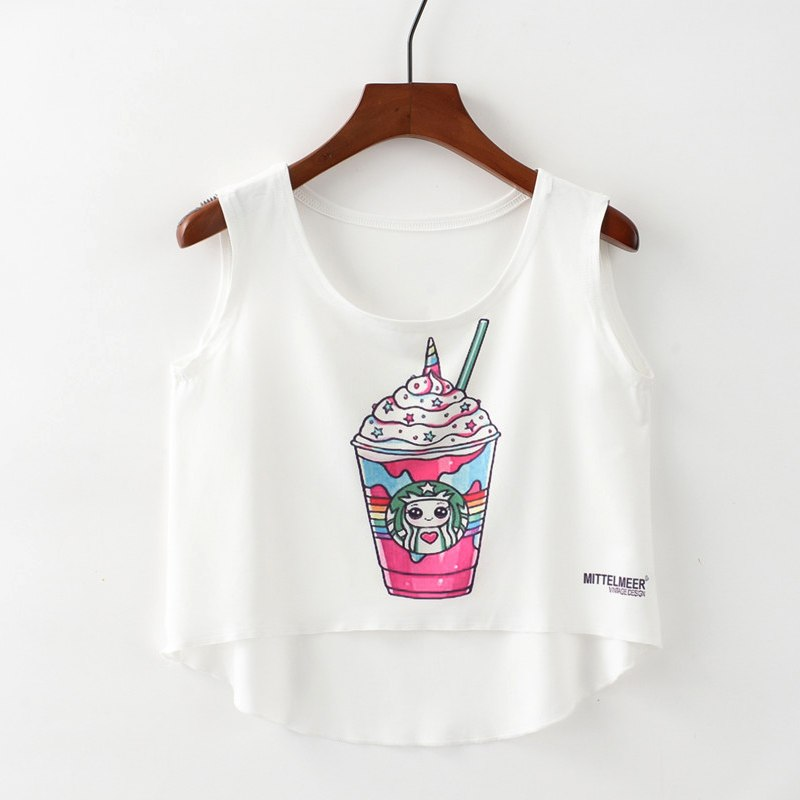 Crop Top Short Tank Top Female Cute Ice Cream Unicorn Elephant Printed Women Tops 2018 White Sexy Cropped Tops Tank - thefashionique