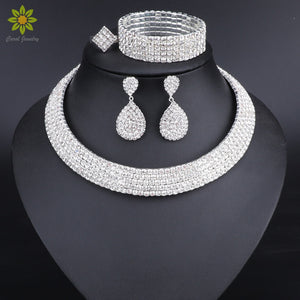 Crystal Bridal Jewelry Sets Silver Color Rhinestone Necklace Earrings Bracelet Ring Wedding Engagement Jewelry Sets for Women - thefashionique