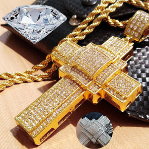 Crystal Cross Necklace for Men Hip Hop Gold and Silver Cross Pendent with Bible Necklace Men Jewelry Gifts 2020 Punk Pendent