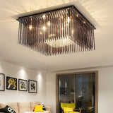 Crystal LED Ceiling Lights Simple Glass Ceiling Lamps Home Lighting Fixtures Fashion Living Room Black Glass Plafonnier Lamp