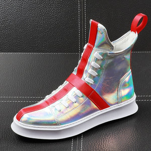 CuddlyIIPanda Brand Men Fashion Casual Shoes Spring Autumn Men Shoes Male High Top Botas Hombre Men Leisure Silver Hip-hop Boots - thefashionique