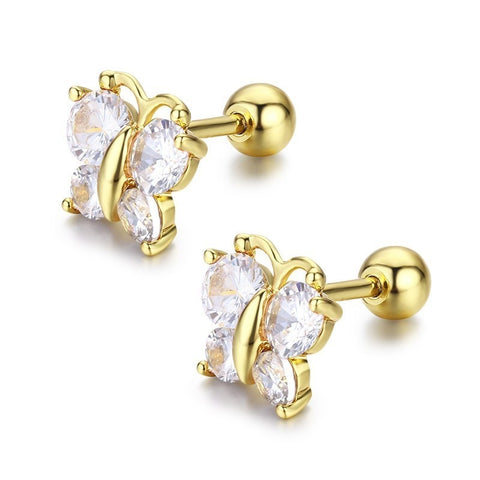 552c5708f Cute Butterfly Cubic Zircon Small Screw Back Stud Earrings For Women Kids  Children Baby Girls Gold
