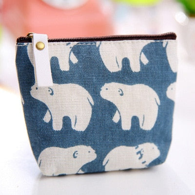 Cute Canvas Coin Bag Lovely Girls The Swing Holder Purse Small Zipper Wallet Card Purse Zip Key Case Money Clip mini cartoon - thefashionique