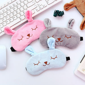 Cute Cartoon Eye Mask Travel Sleep Adjustable Elastic Strap Plush Cute Sleeping Rabbit Eye Mask Bag Eye Cover Sleep Eyeshade - thefashionique