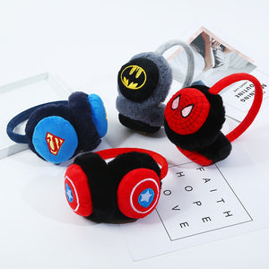 Cute Fur Children's Headphone Superhero Boy Girl Spiderman Batman Winter Earmuffs Thicken Cover Ears Kids Ear Muffs Headband - thefashionique
