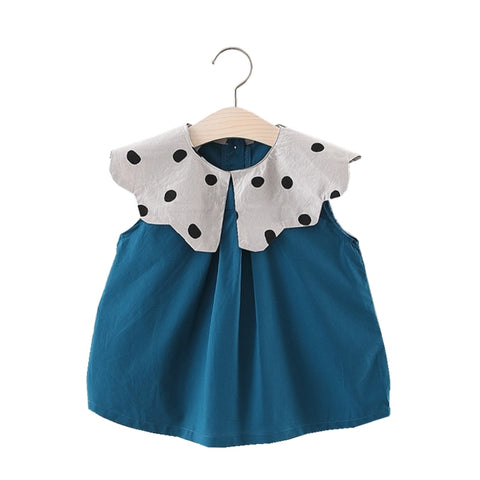 93139edf80 Cute Lace Dotted Collar Baby Girl Dress Summer Causal Loose Newborn Dresses  For Baby Girls Short