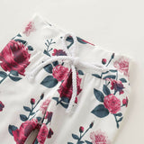 Cute Newborn Baby Girl Rose Printing Hooded Tops Long Pants 2pcs Outfits Set - thefashionique