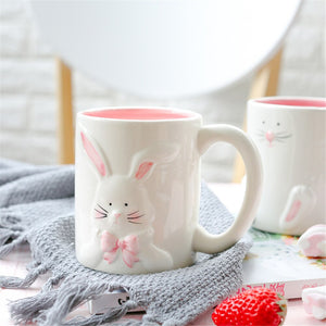 Cute Rabbit Ceramic Coffee Mug Breakfast Coffee Milk Tea Cups Creative Large Capacity Drinkware Home Office Lovers Couple Gifts - thefashionique