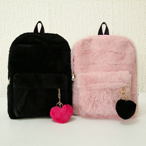 Cute Solid Faux Fur Backpack Heart Pendant Winter Soft Women's Big Plush Backpack Pink Black White Rucksack Mochila NA-57 - thefashionique