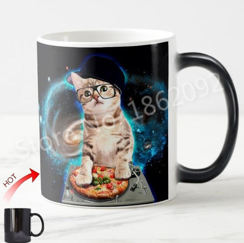 Cute Space Cat Magic Mug Funny DJ Cat Kitten Coffee Mug Heat Color Changing Galaxy Pizza Cats Mugs Novelty Pet Gifts Xmas 11oz - thefashionique