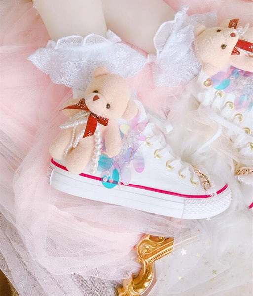 Cute bear loli canvas shoes strap sweet cute princess casual shoes japanese Sweet Lolita Shoes Low help Victoria Kawaii cos