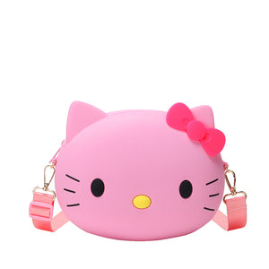 Cute cat small round bag new fashion kitty cartoon girl lolita trend shoulder Messenger bag purse - thefashionique