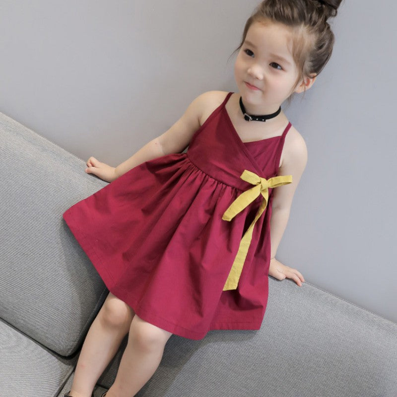 CuteSummer Girls Dress 2018 Brand Princess Dress Sleeveless Bow Floral Design for Girls Clothes Party Dress 3-6Y Clothes - thefashionique