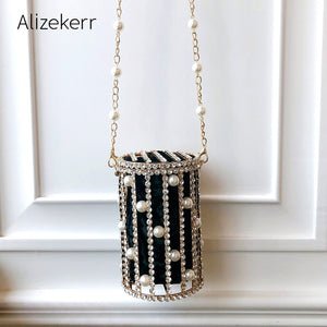 Cylindrical Pearl Rhinestone Evening Bags Women Luxury Small Metal Cage Party Purse Ladies Beaded Chain Bucket Shoulder Bag New - thefashionique