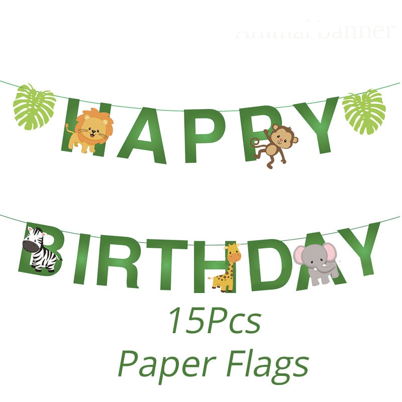 Cyuan Jungle Birthday Party Decoration Green Number Balloons Animal Balloon Safari Party Paper Cup Plate Banner for Kids Party - thefashionique