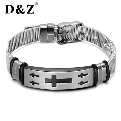 D&Z Religious Silver Wire Chain Jesus Crucifix Bracelet Punk Rock Stainless Steel Watch Band Strap Cross Bangles Jewelry