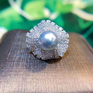 D208 Fine Jewelry 925 Sterling Silver Natural Ocean Tahiti Peals Rings 11-10mm for Women Fine Pearls Rings