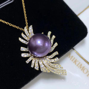 D303 Fine Jewelry 925 Sterling Silver Natural Fresh Water Purple Pearl 11-12mm Pendants Necklaces for Women FIne Pearls Pendants