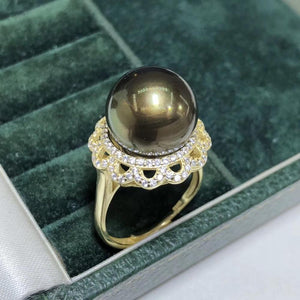 D327 Pearl Ring FIne Jewelry 925 Sterling Silver Natural 13-14mm Fresh Water Peacock Green Black Pearl Rings for Women