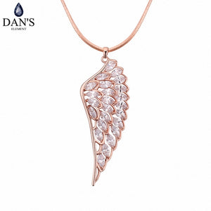 DAN'S Element Brand 3 Colors AAA Zirconia Micro Inlays Fashion Wing Pendant Necklace for Women Valentine Gift 118273 - thefashionique