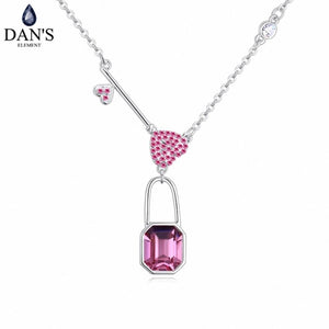 DAN'S Element Brand Real Austrian Crystals Fashion Flower Pendant White Gold Color Necklace For Women Valentine's Gift 130336 - thefashionique