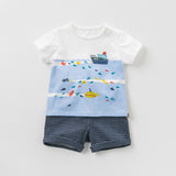 DB10761 dave bella summer baby boys fashion clothing sets casual short sleeve suits children ocean print clothes - thefashionique