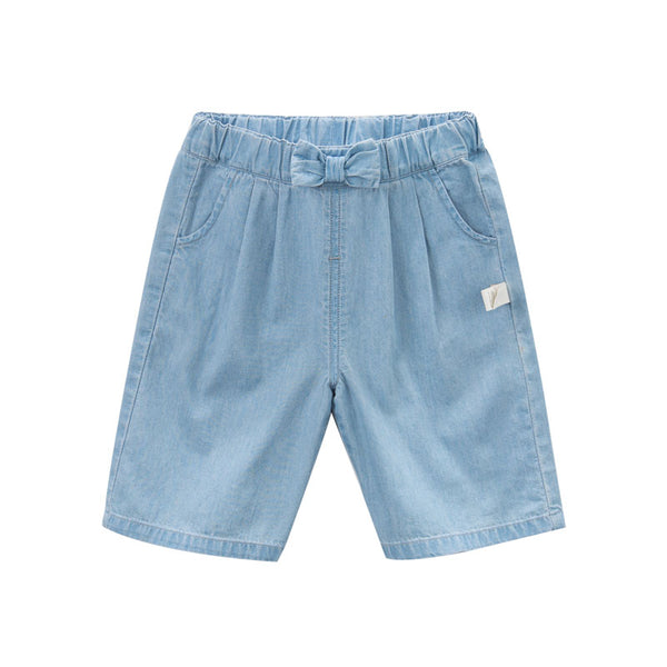 DB7034 dave bella summer baby girls fashion denim short kids bow pants children boutique clothes - thefashionique